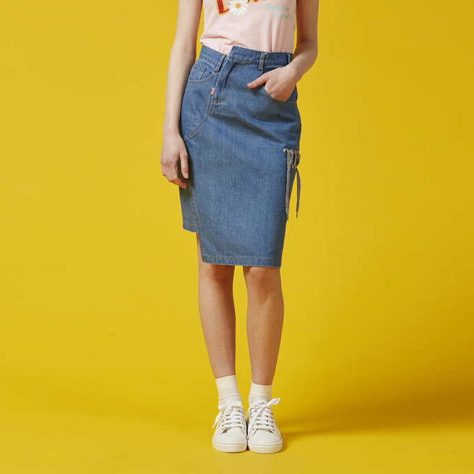UNBALANCE DENIM SKIRT