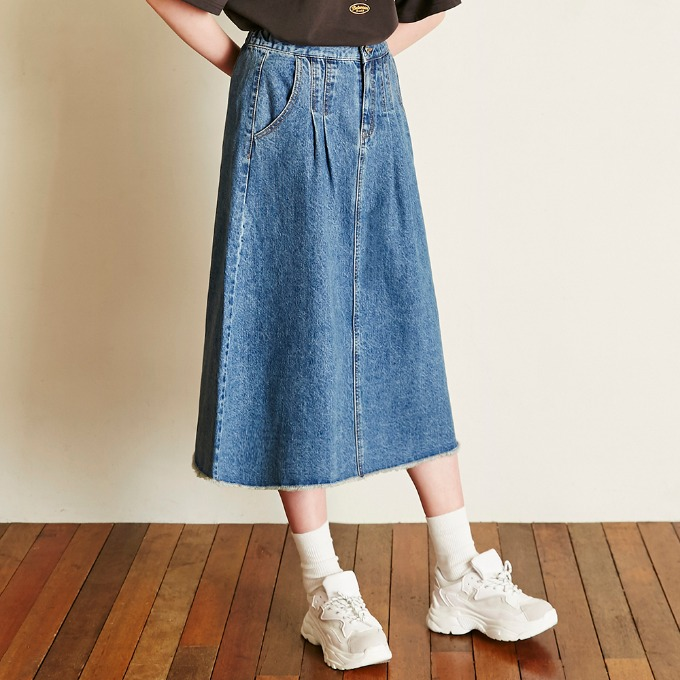 BANDING DENIM SKIRT [BLUE]