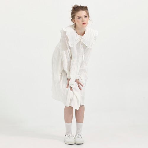 DETACHABLE COLLAR LOOSE FIT DRESS [WHITE]